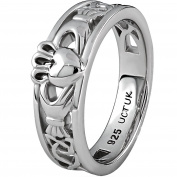 Sterling Silver ULS-6157 Ladies Claddagh Ring