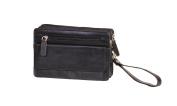 Leather Wrist Bag Clutch Mens Travel Black Cab Money Organiser Mobile Bag A82