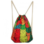 Women Casual Canvas 3D Cat Animal Pattern Drawstring Bags Shoulder Backpack