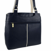 Ladies Soft LEATHER Two-Tone Shoulder Handbag by GiGi; Othello Collection Bag
