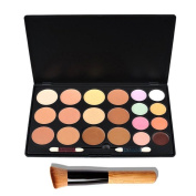 Pixnor 20 Colours Contour Face Cream Makeup Concealer Palette + 1pcs Powder Brushes