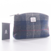 Blue Cheque Harris Tweed Cosmetic Bag