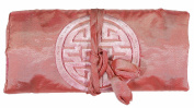 Salmon Pink Embroidered Silk Make Up Bag/ Wrap /Jewellery Roll