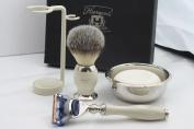 Shaving Kit Gift for Men(Gillette Fusion Razor,Brush,Bowl,Stand)Branded Box