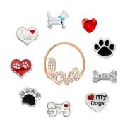 10 Pcs I Love My Dog Pawprint Floating Charms For Glass Living Memory Locket Necklace Pendant & Bracelets