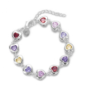 HMILYDYK Elegant Colourful Crystal Mosaic Hearts Link 925 Sterling Silver plated Jewellery Chain Bracelet
