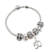 50th Birthday Leather Charm Bracelet Pandora Style Gift Boxed 19cm