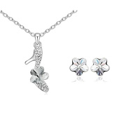 ZiZi Crystal Flower Shoe Necklace & Earring Set ~ Dazzling White ~ Organza Gift Bag ~ Fast Free Delivery
