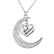 Bling Stars Moon and Heart Two-Piece Pendant Necklace Gift for Mom/Dad/Family Members
