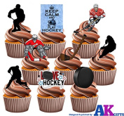 Ice Hockey Pack Cake Decorations - 36 Edible Stand-up Cupcake Toppers