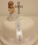 Cake Decoration First Holy Communion Praying Girl Diamante Cross and Ribbon Cake Topper Set