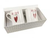 40th Ruby Wedding Anniversary Gift - Pair Of Chunky Mugs Gift Boxed