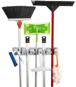 Broom Mop Holder KingTop Garage Storage Hooks Wall Mounted Organiser for Shelving Ideas 5 Position 6 Hooks [ Lifetime Warranty ]