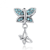 Mother's Day Gifts 925 Sterling Silver Butterfly Dangle Bead Charm with AAA Zircon Fit Bracelet Bangle Necklace DIY Jewellery Accessories for Girls Lovers