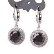 GULICX Women's 925 Sterling Silver Zircon Vintage Style Round Earrings Dangle Leverback Black