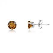 Kezef Round 3mm Extra Small Coffee Brown CZ .925 Sterling Silver Baby Stud Earrings