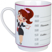 Mug office memo notes and Business Ms Miss Pink with Pencil Eraser White Porcelain La chaise longue 33- 2 K -016