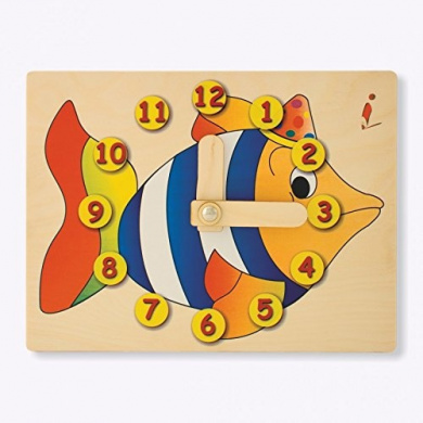 Dida - Didactic Clock in wood Fish - Clock manual to learn to read the hour