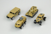 CG Mini tank Jeep Alloy car Children's toy Military vehicles Models Pack of 4 Kid's Toy