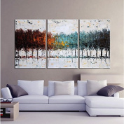 Gardenia Art - Colourful Forest Abstract Art 100% Hand Painted Contemporary Oil Paintings,Modern Wall Art for Room Decoration,3 Pcs/Set,41cm x 60cm ,Framed