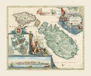 Reproduction Antique Map of Malta and Goza, by Johann Baptiste Homann, Sized 39 x 33 cms
