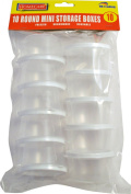 10 x ROUND MINI PLASTIC FOOD STORAGE CONTAINERS - freezer/microwave safe, reusuable with lid.