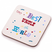 Best Uncle Coaster Gift - Unique wooden drinks coaster - Perfect stocking filler, Secret Santa, Birthday or Christmas gift idea from him or her