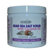 Natural Brio Pure Coarse Grain Dead Sea Salt Body Scrub with Unscented Coconut Oil for Skin Care, 470ml