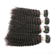 xuchang Eecamail 8a Remy Virgin Brazilian Deep Wave Human Hair Extensions Pack of 2 Unprocessed Deep Wave Weave Natural Colour Mixed Length( 25cm 25cm )