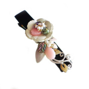 "Hanabe ""Tima"" Handmade White Flower Coated Metal Nature Design Hair Clip Hair Pin"