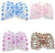Lovef Crystal Bow Elastic Double Combs with Plastic Flowers Hair Clips, Hair Holder/ Ez Comb 4pcs