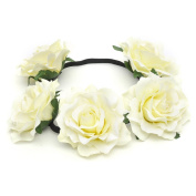 Etino Stretch Fit Headband Head Rose Crown Flower Crown Head Piece for Wedding Party Prom 3 pcs