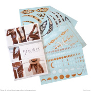 Flash Tattoos Lunar Love Authentic Metallic Temporary Tattoos 4 Sheet Pack (Black/gold/silver/white) - Includes Over 32 Premium Waterproof Tattoos
