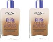 (Pack of 2) - L'Oreal Paris Magic Nude Liquid Powder Bare Skin Perfecting Makeup SPF 18, 330 Classic Tan, 25mls