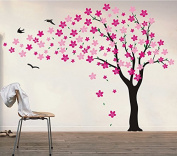 "Pop Decors ""Black/Hot Pink Go Left Drifting Flowers and Birds"" Beautiful Wall Stickers for Kids Rooms"