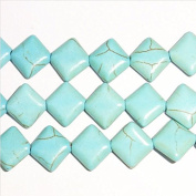 "12mm Square Edge Howlite Turquoise Colour Beads 15""L"
