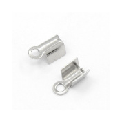 Packet of 20 x Silver Stainless Steel 5 x 10mm Crimp Cord Ends - (Y00120) - Charming Beads