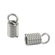 Packet of 30 x Silver Stainless Steel 3 x 8mm Kumihimo Spiral End Caps - (Y00400) - Charming Beads