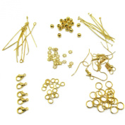 TOAOB Gold Jump ring Headpins Eye pins earring hook Jewellery Making Starter Kit findings