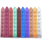 Aokbean 10pcs Colours Flower Antique Carved Wax Sealing Sticks for Retro Vintage Wax Seal Stamp without Wick