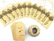 Aokbean 50pcs Wedding Brown Kraft Paper Gift Tags Rectangle Tags with 50pcs Vintage Skeleton Bottle Opener 9.1m Nature Jute Twine