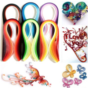 TOODOOT 1080 Strips Paper Quilling 36 Mixed Colours 390mm x 5mm Papercraft DIY Craft Colour Paper