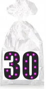 Black with Purple Lights 30 Party Favour Bags with Ties - 12pack