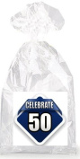 Celebrate 50th Birthday on Blue Party Favour Bags with Ties - 12pack