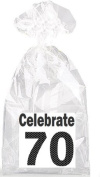 Celebrate 70th Birthday Black and Grey Party Favour Bags with Ties - 12pack
