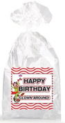 Clowning Around Happy Birthday Party Favour Bags with Ties - 12pack