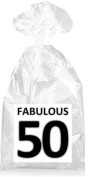 Fabulous 50th Birthday Black on White Party Favour Bags with Ties - 12pack