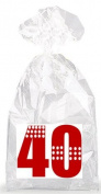 Red with Dotted Strips 40th Birthday Party Favour Bags with Ties - 12pack
