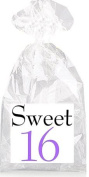 Sweet 16th Birthday Black and Purple Party Favour Bags with Ties - 12pack