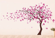 "Pop Decors ""Dark Brown/Light Pink Go Left Cherry Blossom Tree Flowers"" Beautiful Wall Stickers for Kids Rooms"